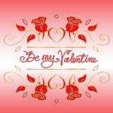 Be my Valentine hand drawn vector stock illustration