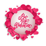 Be My Valentine handwritten brush pen lettering on banner with pink hearts, Valentine's Day,  Royalty Free Stock Image