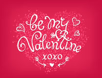 Be my Valentine handwritten decorative text. Hand Royalty Free Stock Photo
