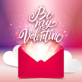 Be my Valentine handwritten love message, romantic card, vector Stock Photography
