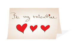 Be my valentine - handwritten paper message. Illustration of vintage handwritten message Stock Image