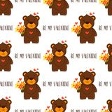 Be my Valentine. Happy Valentine`s Day. Seamless pattern with cute bears Royalty Free Stock Photo