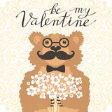 Be my Valentine Hipster bear with a bouquet of flowers. Vintage card in cartoon style. Stock Photo