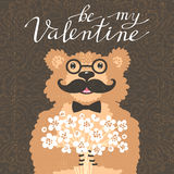 Be my Valentine. Hipster bear with a bouquet of flowers. Vintage card in cartoon style. Royalty Free Stock Image