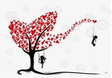 Be my Valentine illustration. Boy hanging on hearth baloon Stock Photo