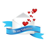 Be my valentine letter illustration design Royalty Free Stock Photo