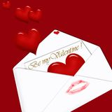 Be my Valentine ! - letter on red background. White envelope with love letter inside and  hearts on dark red background Royalty Free Stock Images