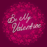 Be My Valentine lettering on the background with hearts vector card. Happy valentine`s day Stock Image