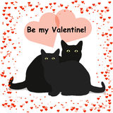 Be my Valentine lettering card with two black cats, isolated on white background Royalty Free Stock Photography
