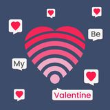 Be my Valentine with love wifi & chat box for social media royalty free stock photos