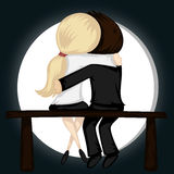 Be my Valentine!. Lovely couple sit on a bench in front of a full moon (a blonde girl and a brown boy stock illustration