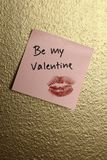 be my valentine note on golden wall Stock Photography