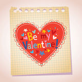 Be my Valentine note paper cartoon heart illustration Stock Photos