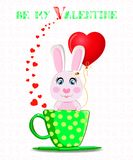 Be my Valentine post card with cute bunny with red balloon. Be my Valentine greeting post card with cute cartoon bunny holding red heart balloon, sitting in Stock Image