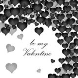 Be my Valentine postcard with many black hearts. Valentine`s day. White background. Vector illustration. Be my Valentine postcard with many black hearts Royalty Free Stock Photos
