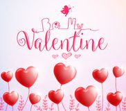 Be My Valentine Poster with Red Heart Balloons for Valentines Day Royalty Free Stock Image