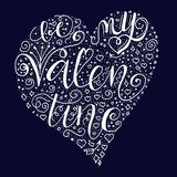 Be my valentine quote on dark blue background. royalty free illustration