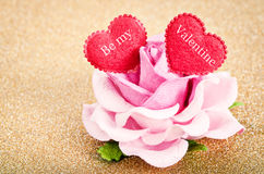 Be my valentine in red heart. Be my valentine in red heart with pink rose on golden glitter background Royalty Free Stock Photo