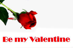 Be My Valentine holiday card. Beautiful rose graces this note with room for your copy Stock Image
