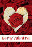 Be my Valentine - Rose heart card Stock Photos
