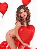 Be my valentine's. Girl in valentine's day Royalty Free Stock Images