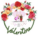 Be my valentine for valentine`s day card. Romantic swing under roses , cartoon,vector illustration Royalty Free Stock Photography