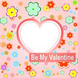 Be my valentine scrapbook flower background Stock Photo