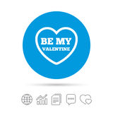 Be my Valentine sign icon. Heart Love symbol. Stock Image