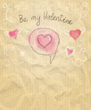 Be My Valentine Sketchy Card with Hearts. Vector illustration, eps10. Royalty Free Stock Image