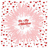 Be my Valentine starburst background. Be my Valentine script and starburst with red hearts. For holiday background design or greeting card design Stock Photos