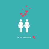 Be my Valentine. A sweet Valentine's Day card with a lesbian couple figures and pink hearts Royalty Free Stock Photos