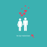 Be my Valentine. A sweet Valentine's Day card with a straight couple figures and pink hearts Royalty Free Stock Photography