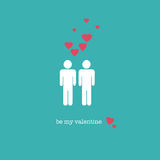 Be my Valentine. A sweet Valentines Day card with a gay couple figures and pink hearts Stock Photo