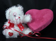 Be My Valentine. This Valentine teddy bear, candy box and ribbon are part of a Valentine invitation Stock Image