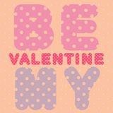Be my valentine text card Royalty Free Stock Photos
