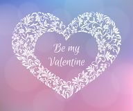 Be my Valentine. Text inside the frame-heart of flowers. A gentle romantic design. Suitable for postcards Stock Photography