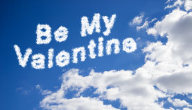 Be My Valentine text in the sky Royalty Free Stock Photo