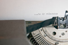BE MY VALENTINE TYPES ON AN OLD ANTIQUE TYPEWRITER. A valentines day message typed on an old typewriter Stock Images