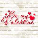 Be my Valentine.Valentine`s Day card. Vector Hearts on Wooden background Stock Images