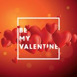 Be My Valentine Vector Background. Decorative vector background with realistic 3D looking hearts created with gradient mesh, Be My Valentine typographic message Stock Photo