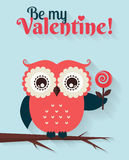 Be My Valentine! Vector greeting card with flat owl. Royalty Free Stock Image