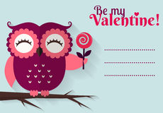 Be My Valentine! Vector greeting card with flat owl. Stock Photography