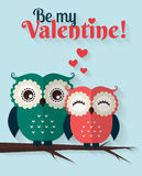 Be My Valentine! Vector greeting card with flat owls. Stock Photography