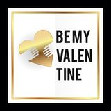 Be my valentine vector illustration card design with heart symbol gold colors. Be my valentine vector illustration card design with heart symbol gold stock illustration