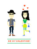 Be my Valentine. Vector illustration of a valentines couple. Pix Stock Image