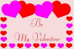 Free Be My Valentine With Cute Hearts Border Royalty Free Stock Images - 109110449