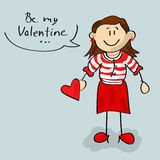 Be my Valentine woman cartoon Royalty Free Stock Image