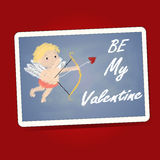 Be My Valentine word with cupid on the black board. On red bg Royalty Free Stock Photography