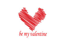 Be my valentine word with drawn heart Royalty Free Stock Image