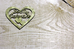 Be My Valentines decoupage handmade heart on wooden background Royalty Free Stock Photos